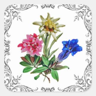 Alpiene Bloemen Vierkante Sticker