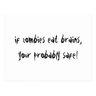 Als de Zombieën Hersenen…. eten! Briefkaart