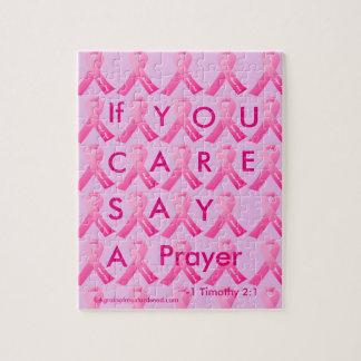 Als de Zorg van U een Roze Lint van het Gebed zegt Puzzel