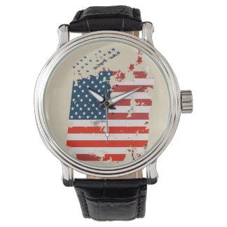 Als een Amerikaan. De vlag van de V.S. grunge Polshorloges
