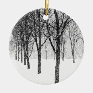 als kant van I met bomen Rond Keramisch Ornament