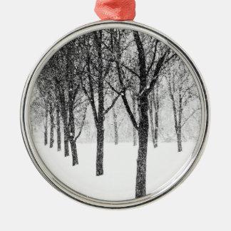 als kant van I met bomen Zilverkleurig Rond Ornament