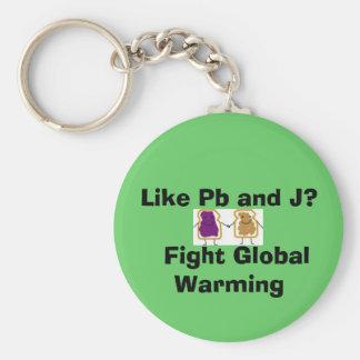 Als Pb en J?   Het Globale Verwarmen van de strijd Basic Ronde Button Sleutelhanger
