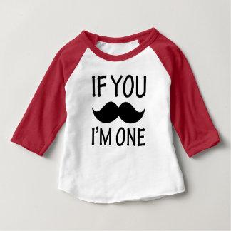 Als u Snor ben ik Één grappig babyoverhemd Baby T Shirts