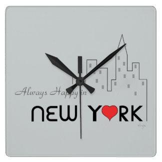 Altijd Gelukkig in New York Vierkante Klok