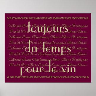 """""""Altijd tijd voor wat wijn"""" Frans woordenCitaat Poster"""