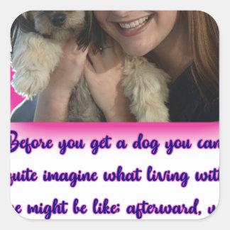 Alvorens u een hond krijgt vierkante sticker