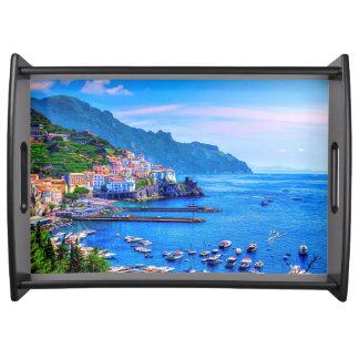 Amalfi Italië het Kleurrijke Art. van de Foto Dienblad