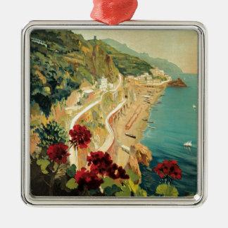 Amalfi Italië Zilverkleurig Vierkant Ornament