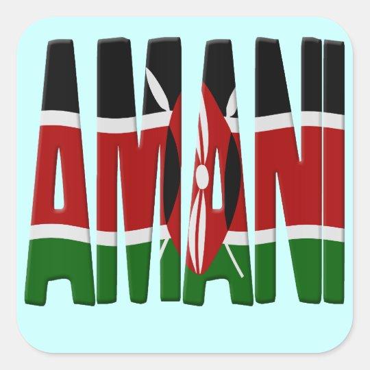 Amani - Peace - Kenya flag Vierkante Sticker