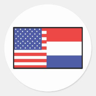 Amerika Holland Ronde Stickers