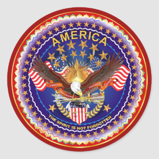 Amerika is niet Vergeten Rnd Nota's gelieve Ronde Sticker