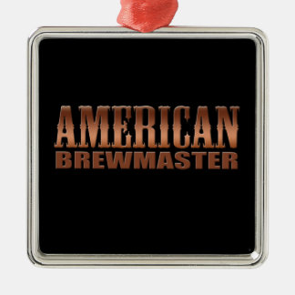 Amerikaans de brouwersbier van het brewmasterhuis zilverkleurig vierkant ornament