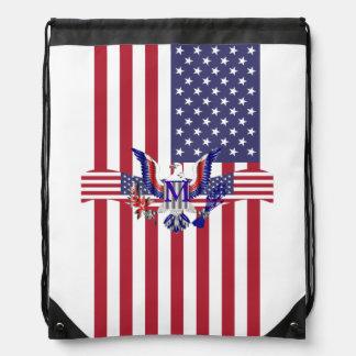 Amerikaanse adelaarssymbool en vlag trekkoord rugzakje