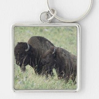 Amerikaanse Buffels Zilverkleurige Vierkante Sleutelhanger