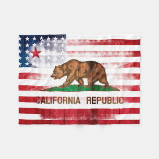 Amerikaanse Californische Vlag | Hout & Fleece Deken
