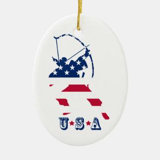 Amerikaanse de schuttervlag van het Boogschieten Keramisch Ovaal Ornament