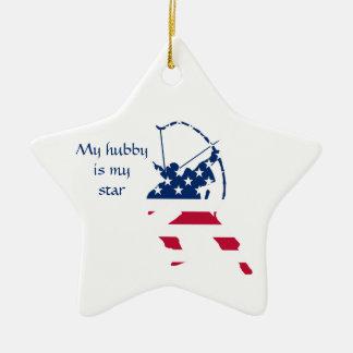 Amerikaanse de schuttervlag van het Boogschieten Keramisch Ster Ornament