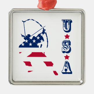 Amerikaanse de schuttervlag van het Boogschieten Zilverkleurig Vierkant Ornament