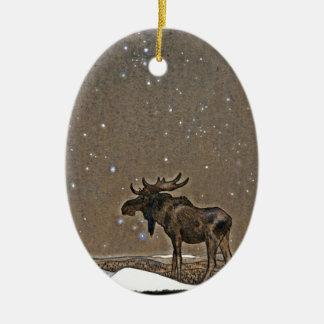 Amerikaanse elanden in Sneeuw Keramisch Ovaal Ornament