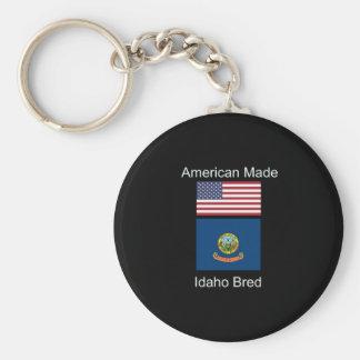 """Amerikaanse Geboren. Idaho Gekweekte"" Vlaggen en Basic Ronde Button Sleutelhanger"