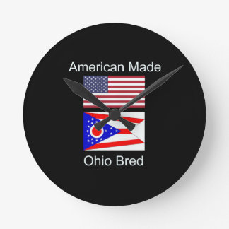 """""""Amerikaanse Geboren. Ohio Gekweekte"""" Vlaggen en Ronde Klok Medium"""