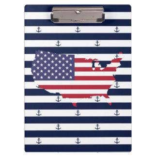 Amerikaanse kaartvlag | zeevaartstrepenpatroon klembord