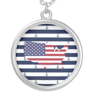 Amerikaanse kaartvlag | zeevaartstrepenpatroon zilver vergulden ketting