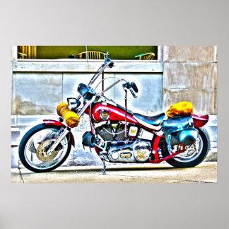 Amerikaanse Motorfiets buiten het Poster van HDR