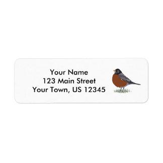 Amerikaanse Robin met rode borst Digitally Drawn Etiket