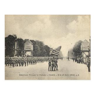 Amerikaanse troepen in Parijs, 4 Juli 1918 Briefkaart