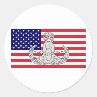 Amerikaanse Vlag met Kenteken EOD Ronde Sticker