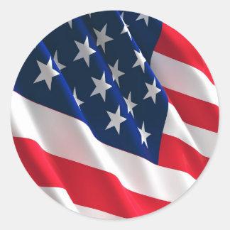 Amerikaanse vlag ronde sticker