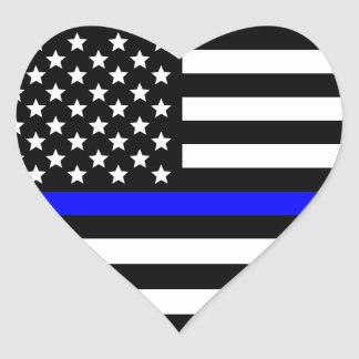 Amerikaanse Vlag van Blue Line van de politie de Hart Sticker
