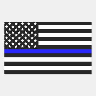 Amerikaanse Vlag van Blue Line van de politie de Rechthoekige Sticker
