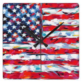 Amerikaanse Vlag Vierkante Klok