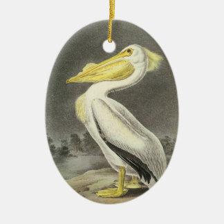 Amerikaanse Witte Pelikaan door Audubon Keramisch Ovaal Ornament