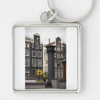 Amsterdam - de Schoorsteen van de Woonboot Zilverkleurige Vierkante Sleutelhanger