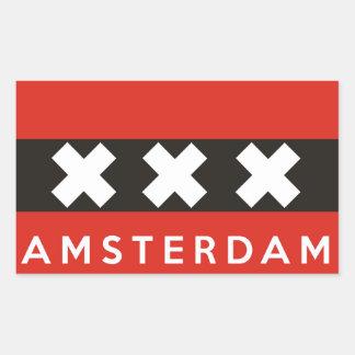Amsterdam de tekst van de het landnaam van rechthoekige sticker