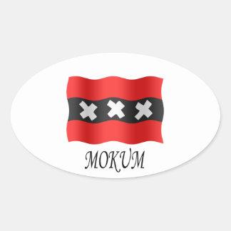 Amsterdam flag + Mokum Ovaalvormige Sticker