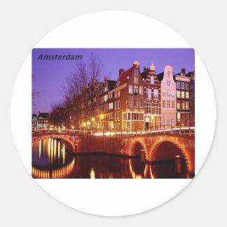 Amsterdam--Stad van lichten [kan.k]. Ronde Sticker