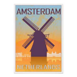 Amsterdam vintage poster impresión fotográfica