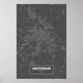 Amsterdam, wit Nederland (op zwarte) Poster