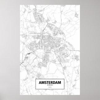 Amsterdam, zwart Nederland (op wit) Poster
