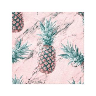 Ananas & Roze Marmeren Moderne Tropische Elegant Canvas Afdrukken