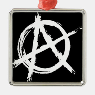 Anarchie Zilverkleurig Vierkant Ornament