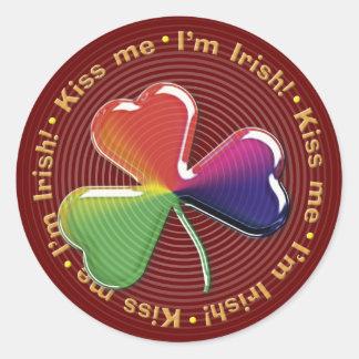 Angstaanjagende klaver: Kus me - ik ben Iers! - Ronde Stickers