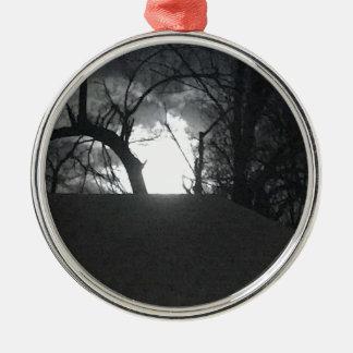 Angstaanjagende Ochtend Zilverkleurig Rond Ornament