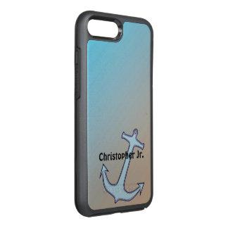 Anker op Gepersonaliseerde Aqua en Tan OtterBox Symmetry iPhone 8 Plus / 7 Plus Hoesje