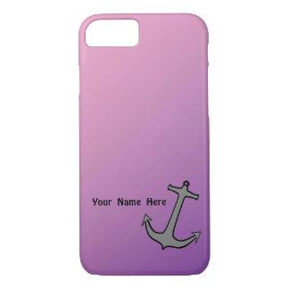 Anker op Roze en Paars iPhone 7 Hoesje